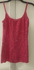 Sparkly pink tank top